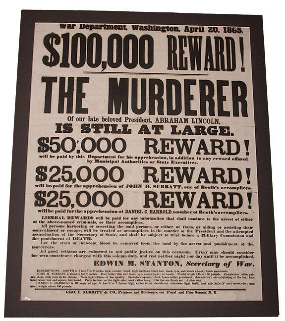 Am Hist Exhibit reward poster