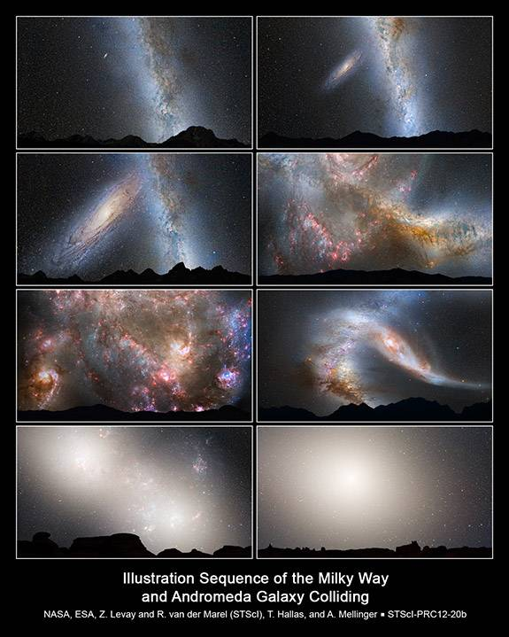Senior Thesis Dayton Martindale Illustration Sequence of the Milky Way and Andromeda Galaxy Colliding