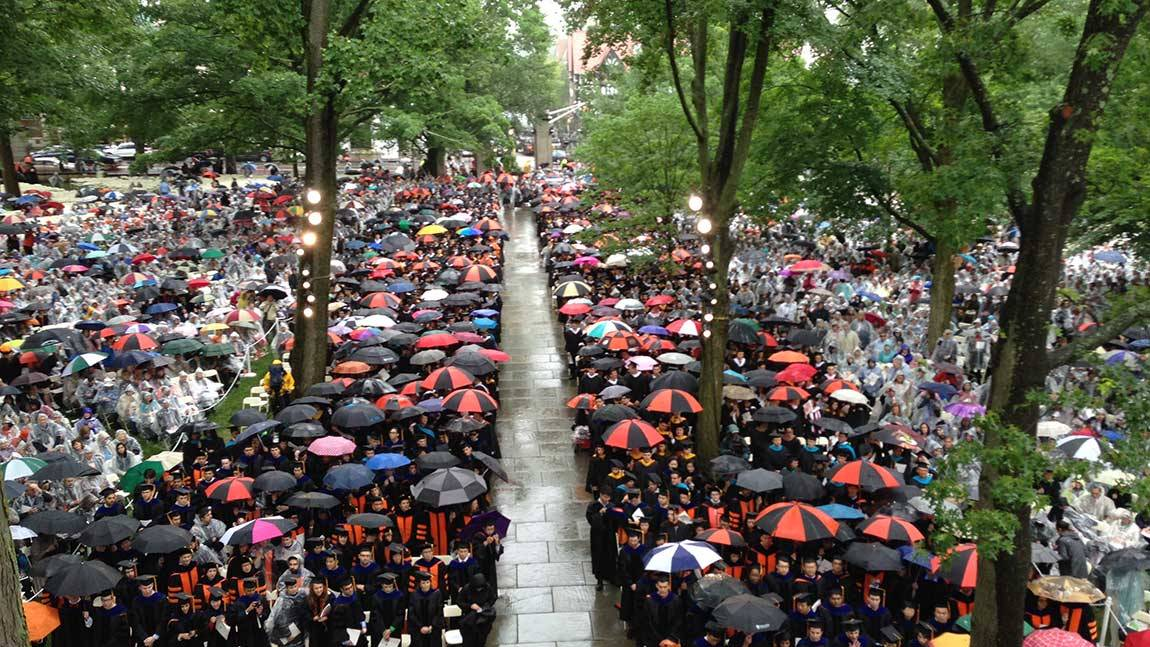 Commencement 2015 graduation in the rain