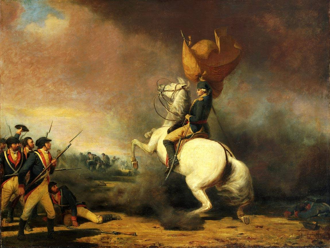 "July 4 ""Washington Rallying the Americans at the Battle of Princeton"" painting"