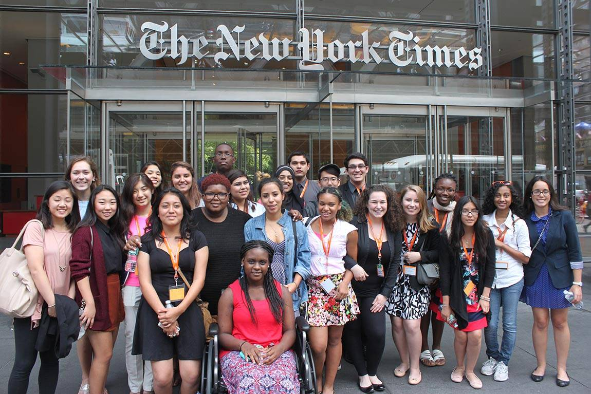 Summer Journalism Program in front of New York Times building