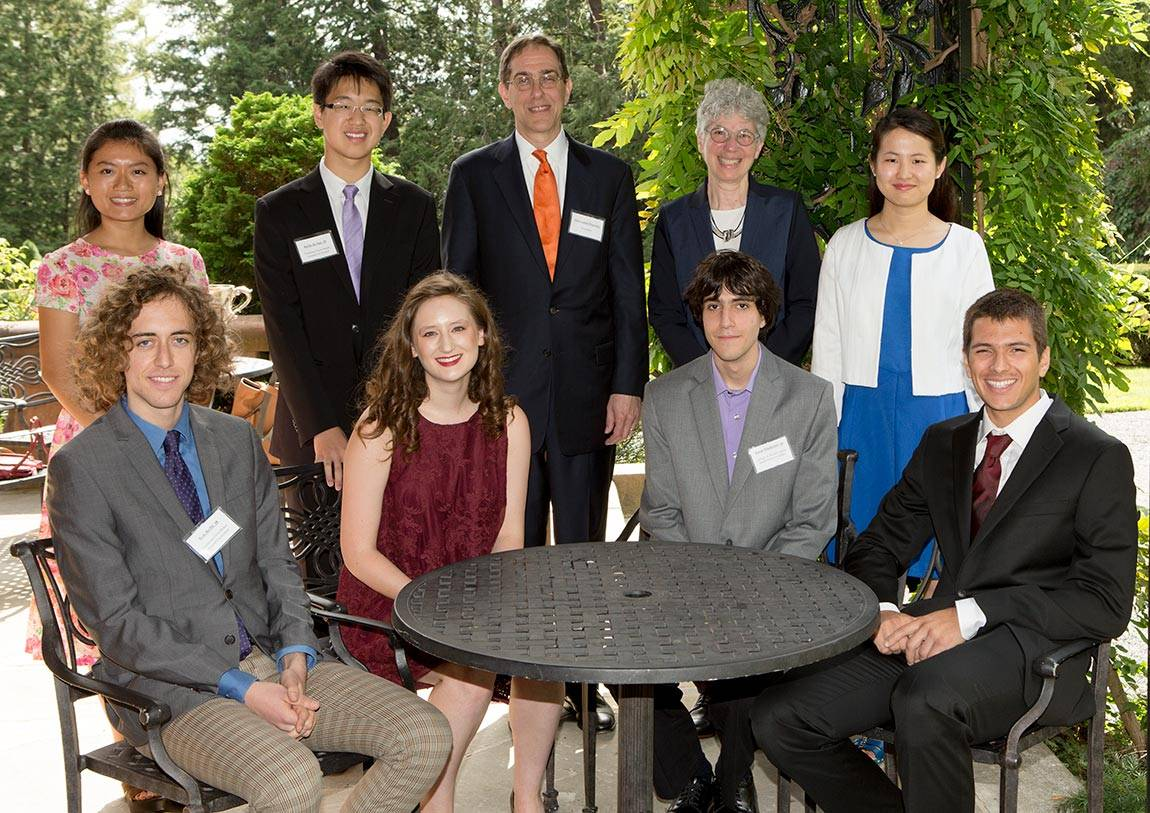 Opening Exercises student award winners with President Eisgruber and Dean of the College Jill Dolan