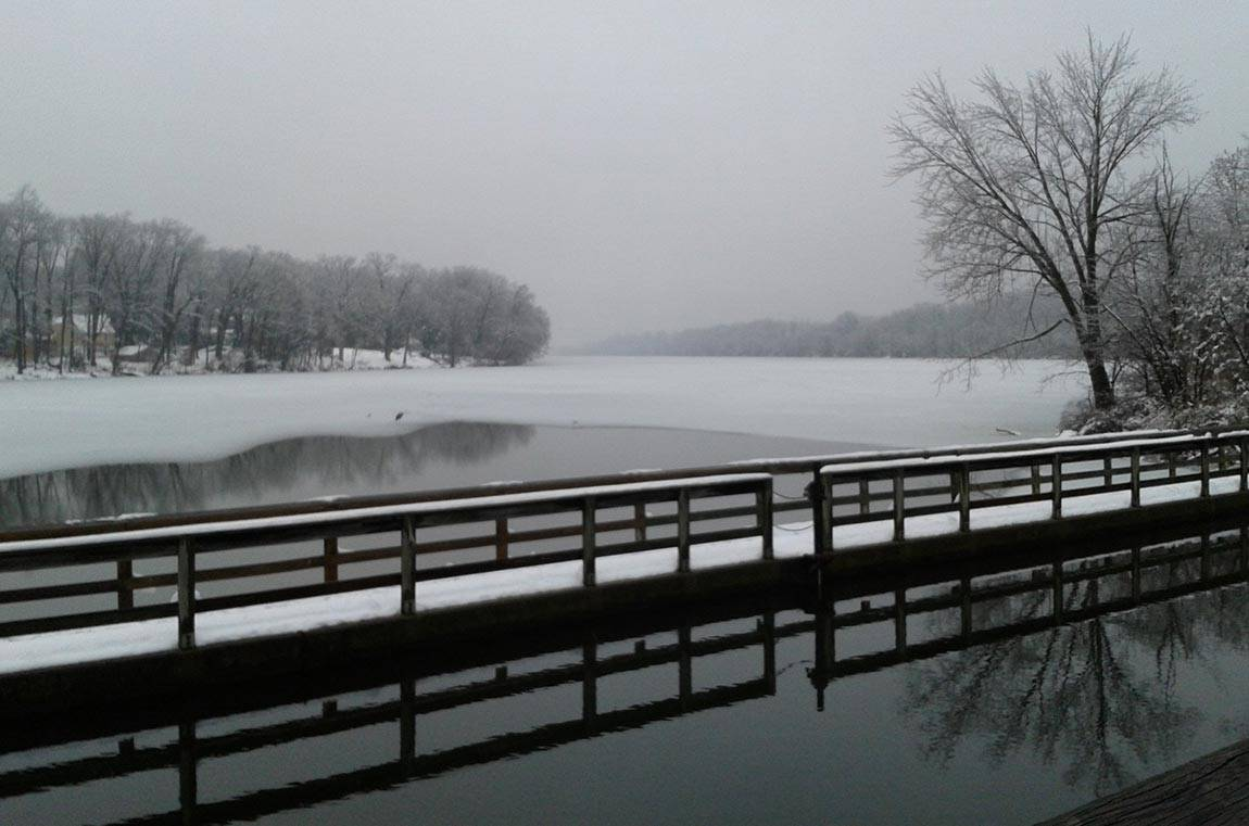 Lake Carnegie and lake confluence in winter