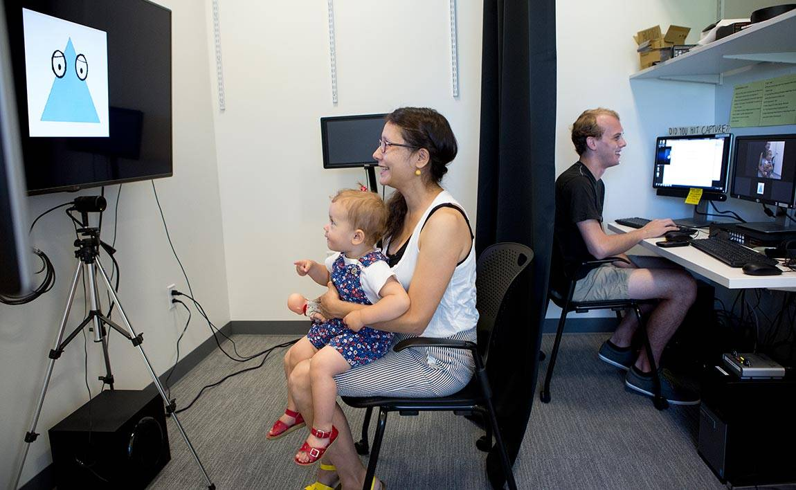 Casey Lew-Williams Baby Lab: Clara Mas with mother Rebecca Rainof and research assistant Nick Tippenhauer