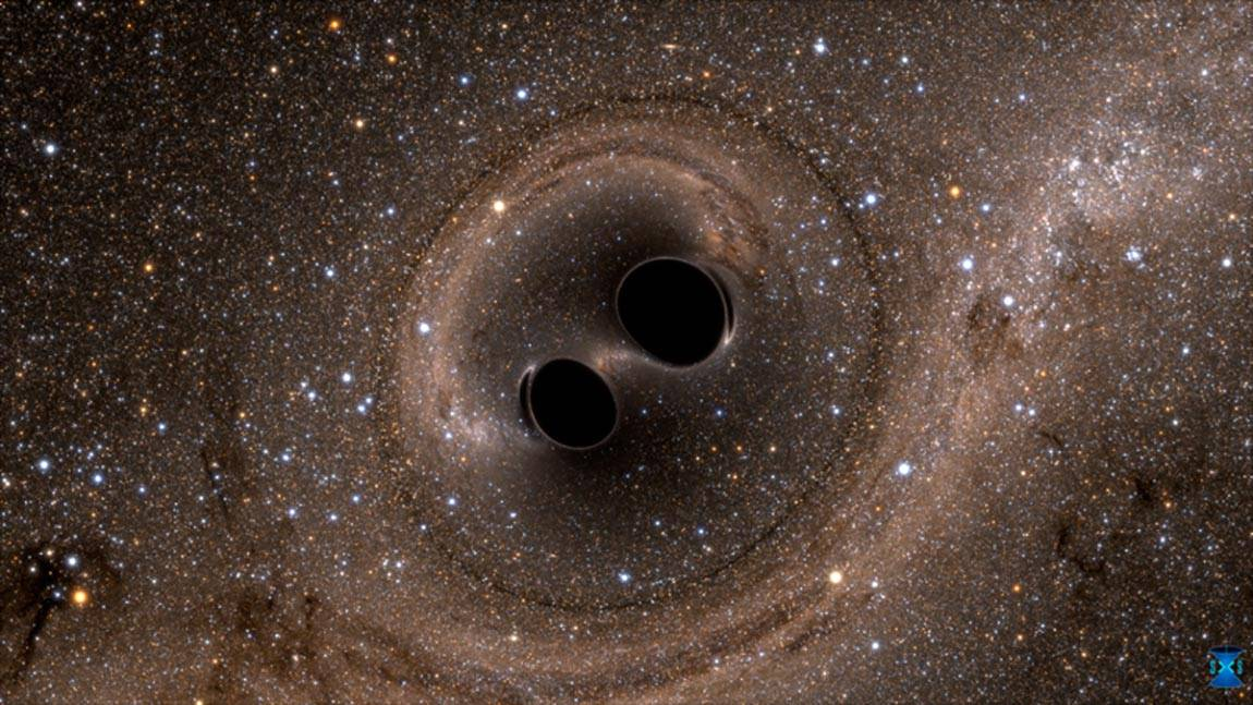 Two black holes merging