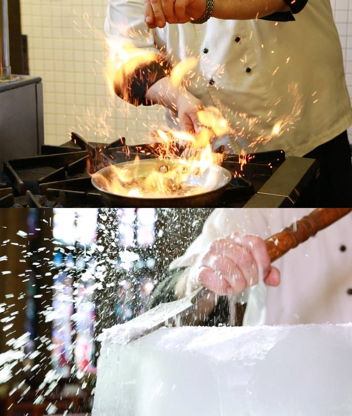 Hot and Cold making Bananas Foster and ice carving