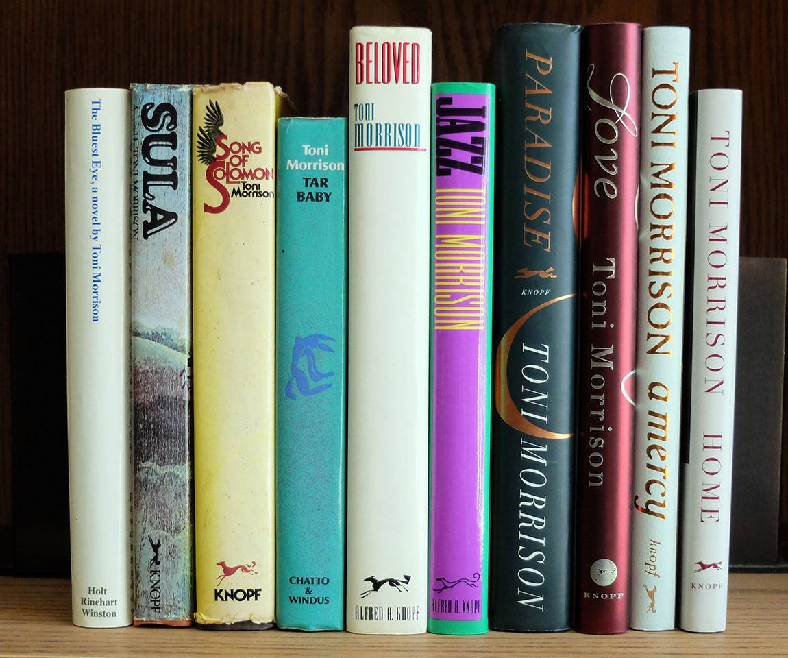 Photo of spines of books by Toni Morrison
