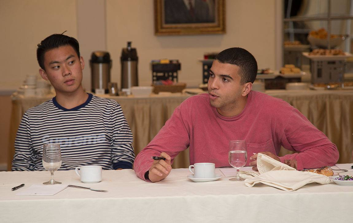 Princeton Start-Up Immersion Program Juniors Daniel Liu, left, and Anid Laoui, right, listened to a talk by Ro Gupta, founder and chief executive of a new company called Carmera and a 2000 Princeton alumnus