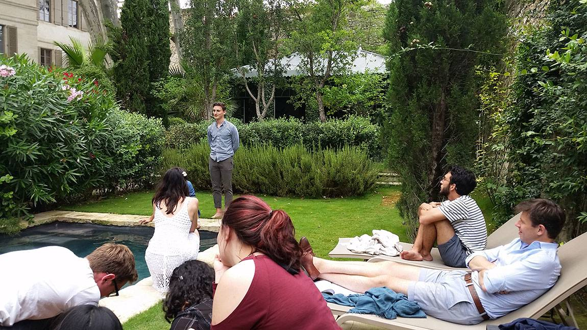 A Tale of Two Countries: France - Benjamin Diamond rehearsing in garden of Le Complot