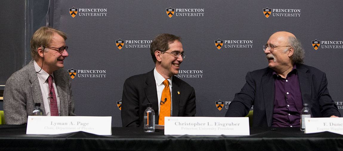 F. Duncan Haldane press conference with Lymon Page, President Eisgruber