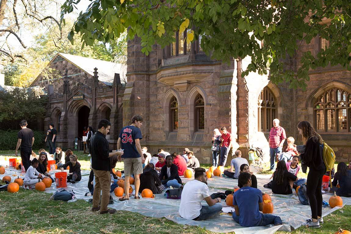 One hundred pumpkins were ordered from Terhune Orchards and set up outside Murray-Dodge Hall for the event on Oct. 15.