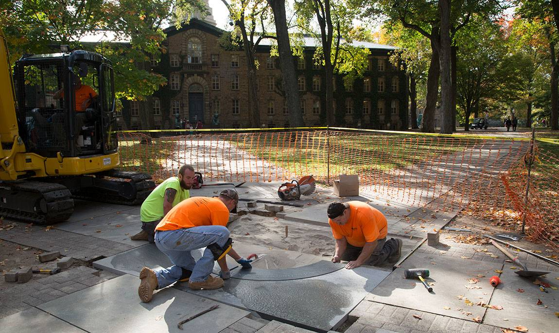 Charter Day installation of new medallion in front of Nassau Hall