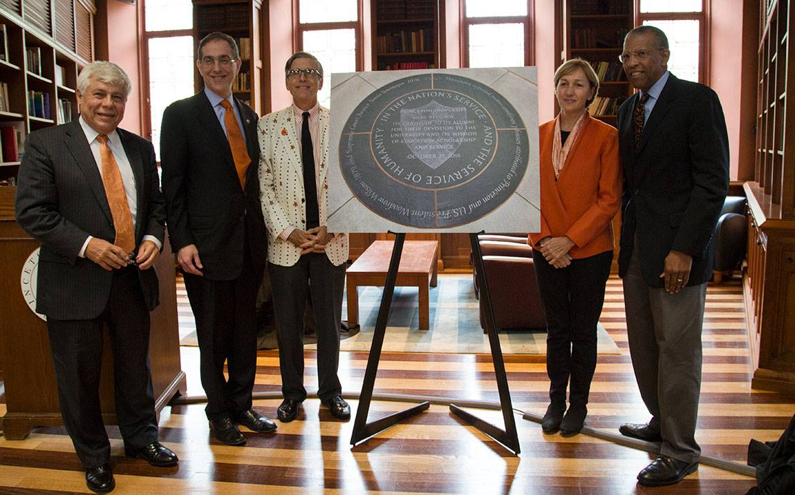 Charter Day installation of new medallion Robert Durkee,  President Eisgruber, Jeffrey Wieser, Sara Judge, Brent Henry in Chancellor Green