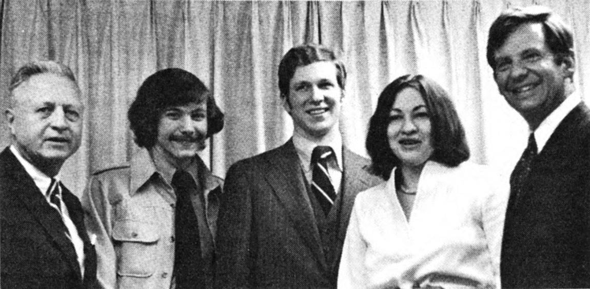At Alumni Day in 1976, then-President William G. Bowen (from right) stands with Pyne Prize winners Sonia Sotomayor and J. David Germany; Eric Lander, Freshman First Honor Prize winner; and University Trustee R. Manning Brown