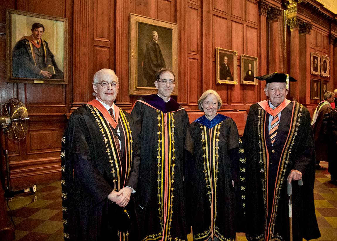 Princeton presidents Harold T. Shapiro (1988-2001), Christopher L. Eisgruber (2013-present), Shirley M. Tilghman (2001-2013) and William G. Bowen (1972-1988) gather before Eisgruber's installation as president in 2013.