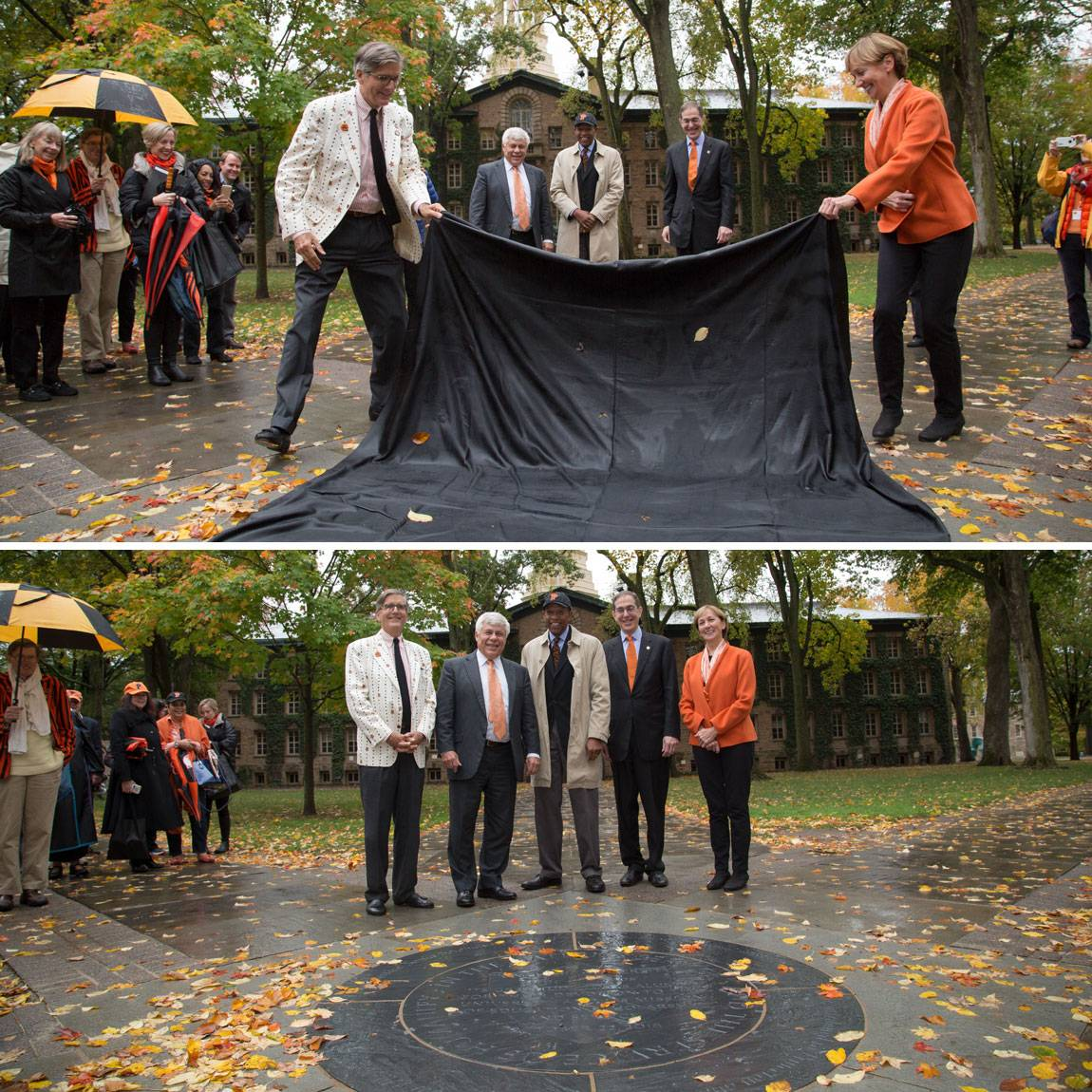 Charter Day unveiling of new medallion in front of Nassau Hall Jeffrey Wieser and Sara Judge with Robert Durkee, Brent Henry and President Eisgruber