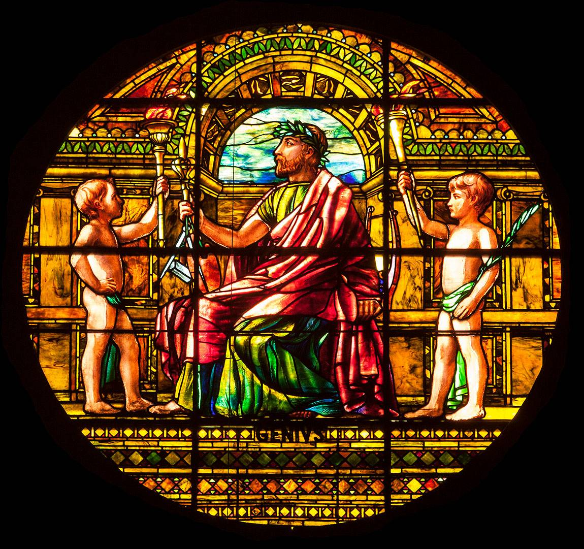 Richardson Auditorium in Alexander Hall stained glass panel