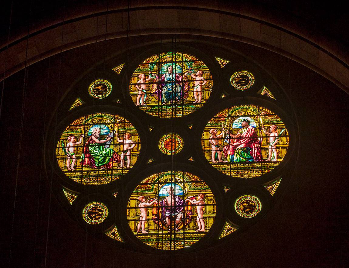 Richardson Auditorium in Alexander Hall stained glass window