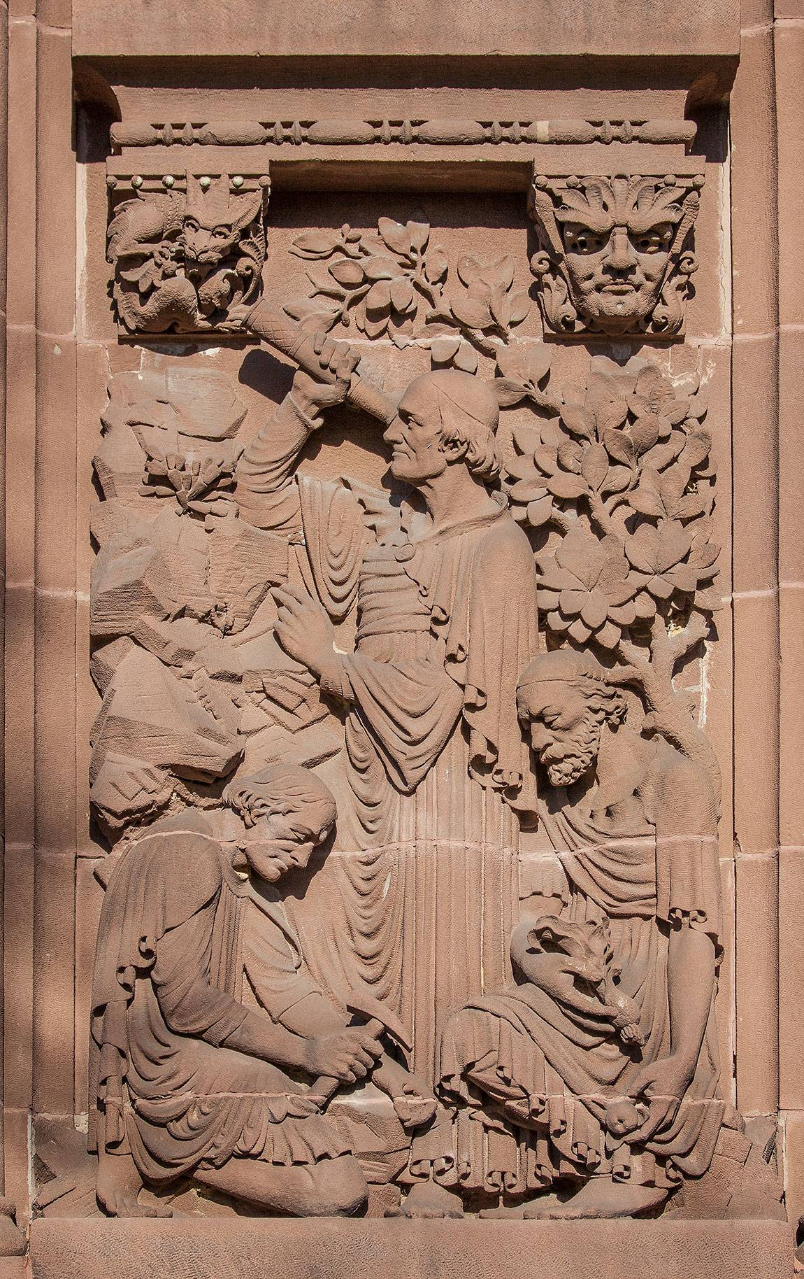 Richardson Auditorium in Alexander Hall sculpture panel
