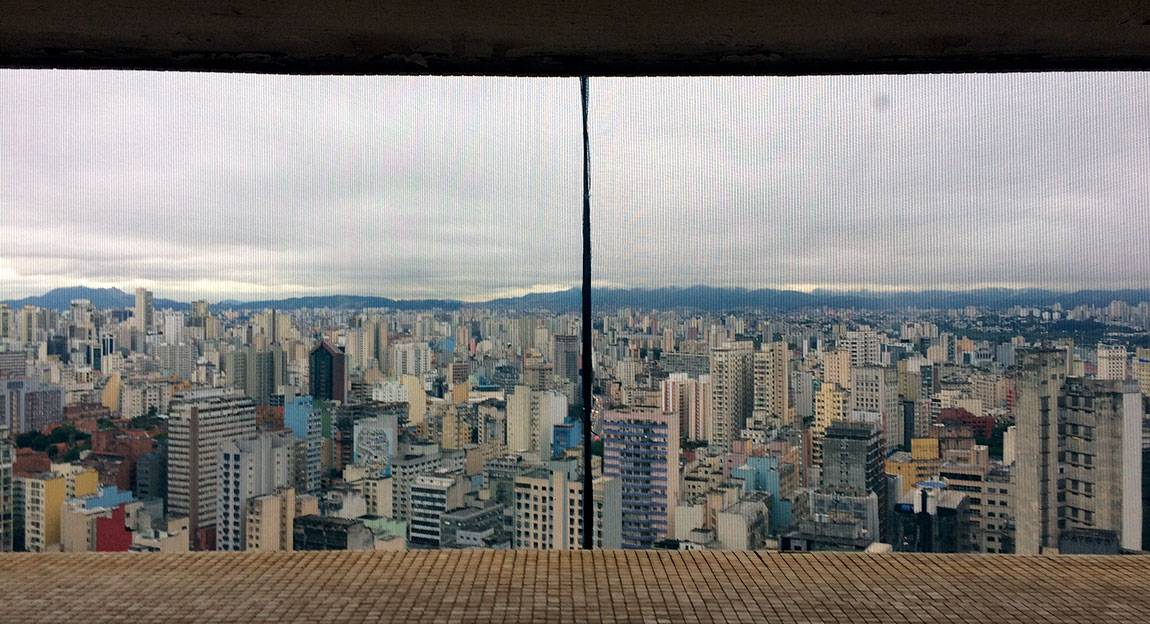 To further our understanding of Brazil's place on the global art stage, the class explored the city of São Paulo. Part of this evolving and complex metropolitan center is seen here through the window of an apartment in the Edifício Copan.