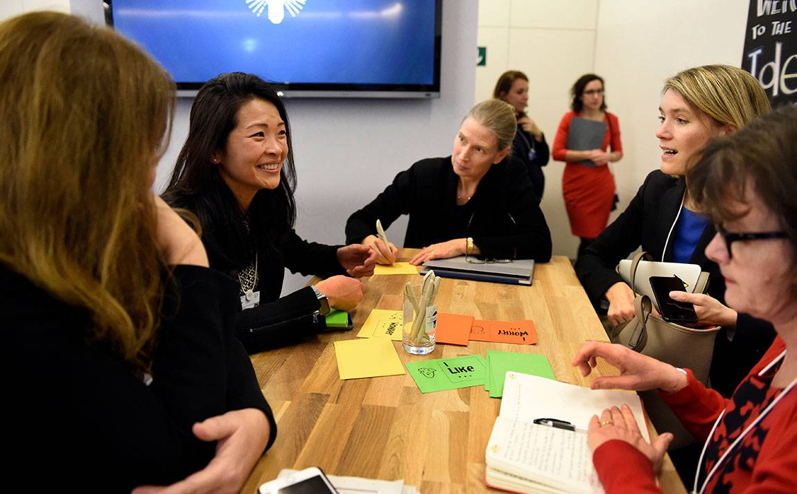 "Lynn Loo (left), director of Princeton's Andlinger Center for Energy and the Environment, participates in an ""Ideas Lab"" discussion on climate change at the annual World Economic Forum in Davos."