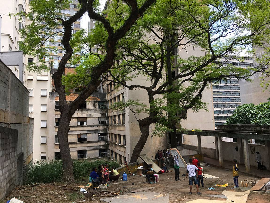 This formerly abandoned building, along with several others throughout São Paolo, was part of an organized mass occupation that had taken place no more than 24 hours before this picture was taken.