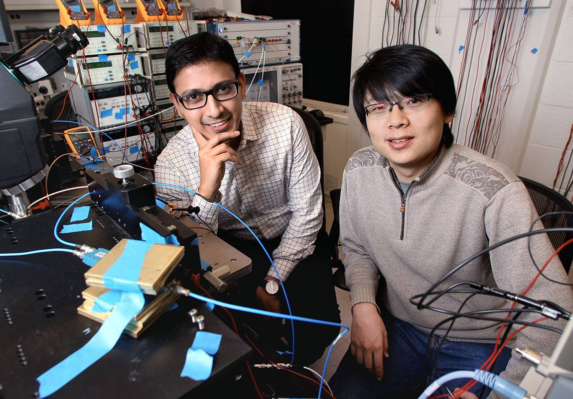 n two recently published articles, researchers Xue Wu (right), a Princeton graduate student in computer science, and Kaushik Sengupta, an assistant professor of electrical engineering, describe one microchip that can generate terahertz waves, and a second chip that can capture and read intricate details of these waves. Terahertz waves sit between the microwave and infrared light wavebands on the electromagnetic spectrum and have unique characteristics, such as the ability to pass through most non-conduct...