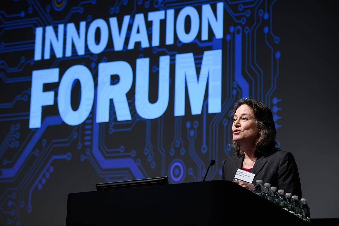 "Emily Carter, dean of engineering, welcomes the audience at the 12th annual Innovation Forum on Feb. 15, noting that the event is an example of the school reaching out ""to the rest of the University and beyond to make a difference in the world."""