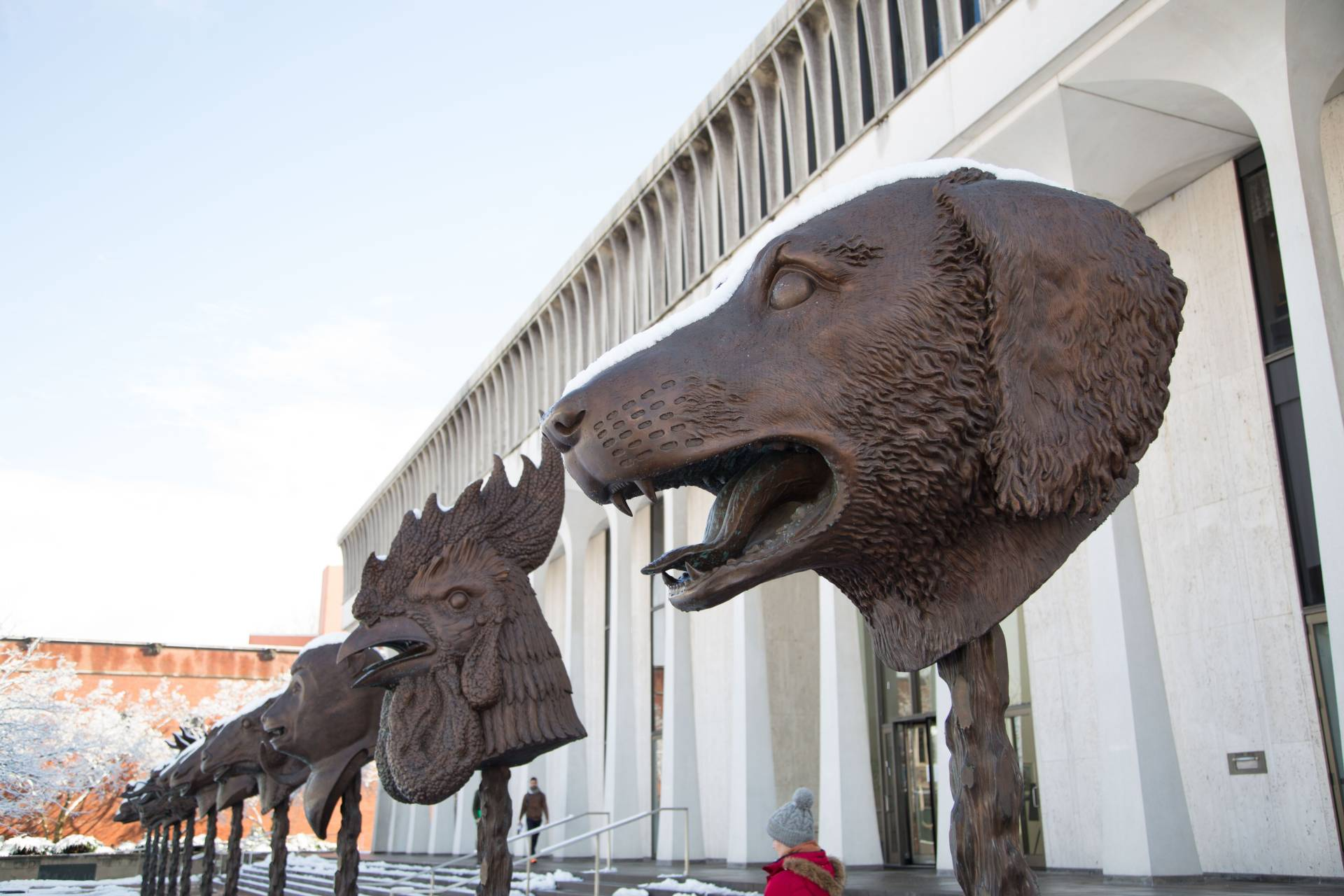 Photo of animal head sculptures in front of Robertson Hall.