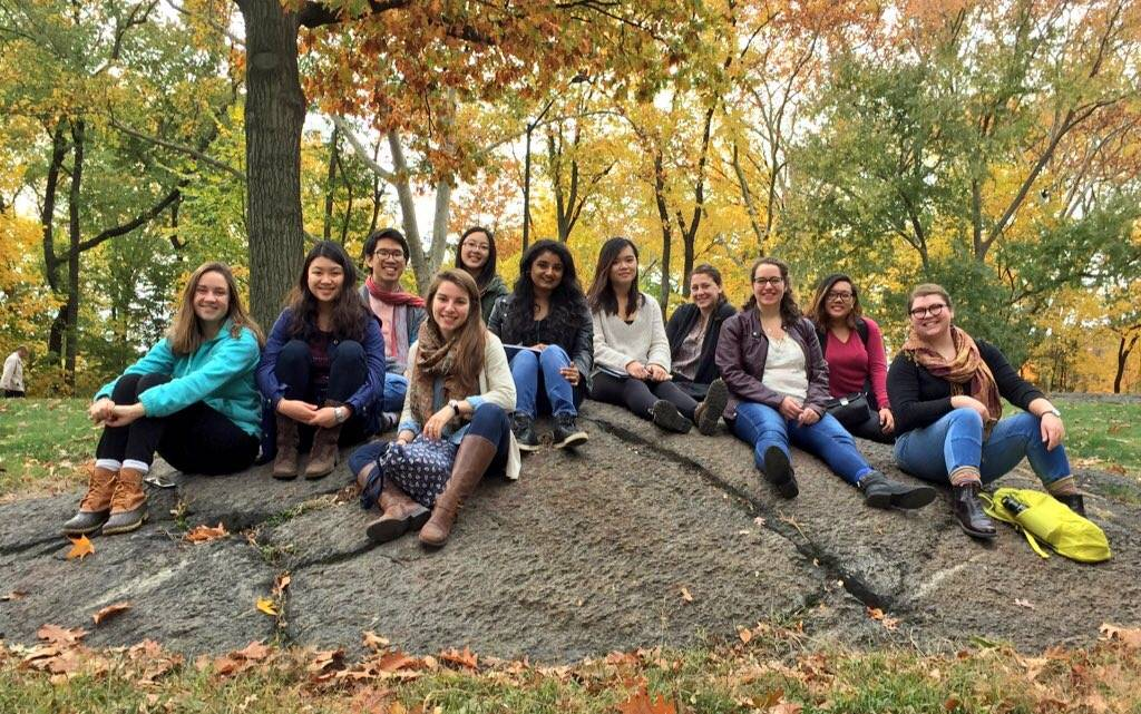 "After a morning meeting, students on the ""Sex, Sexism and Sexuality"" trip relax in Central Park. The group spent a week in New York City meeting with organizations involved in the feminism movement."