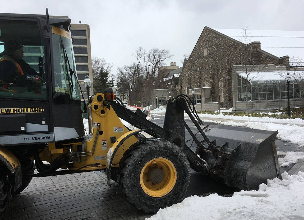 Snow plowing on campus