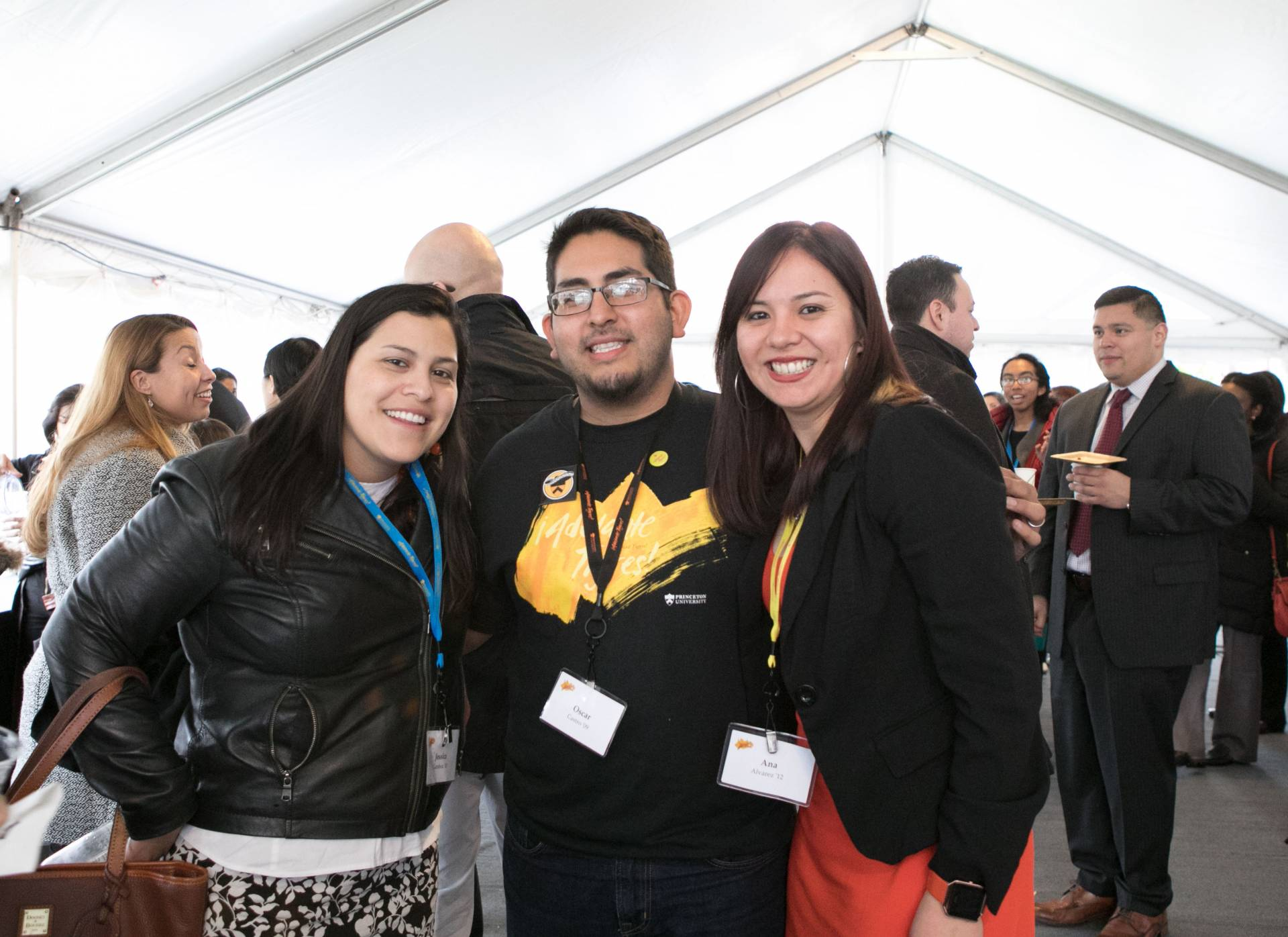 Adelante Tigres Conference: Jessica Gamboa '10; Oscar Castro '09; and Ana Alvarez '12 at reception