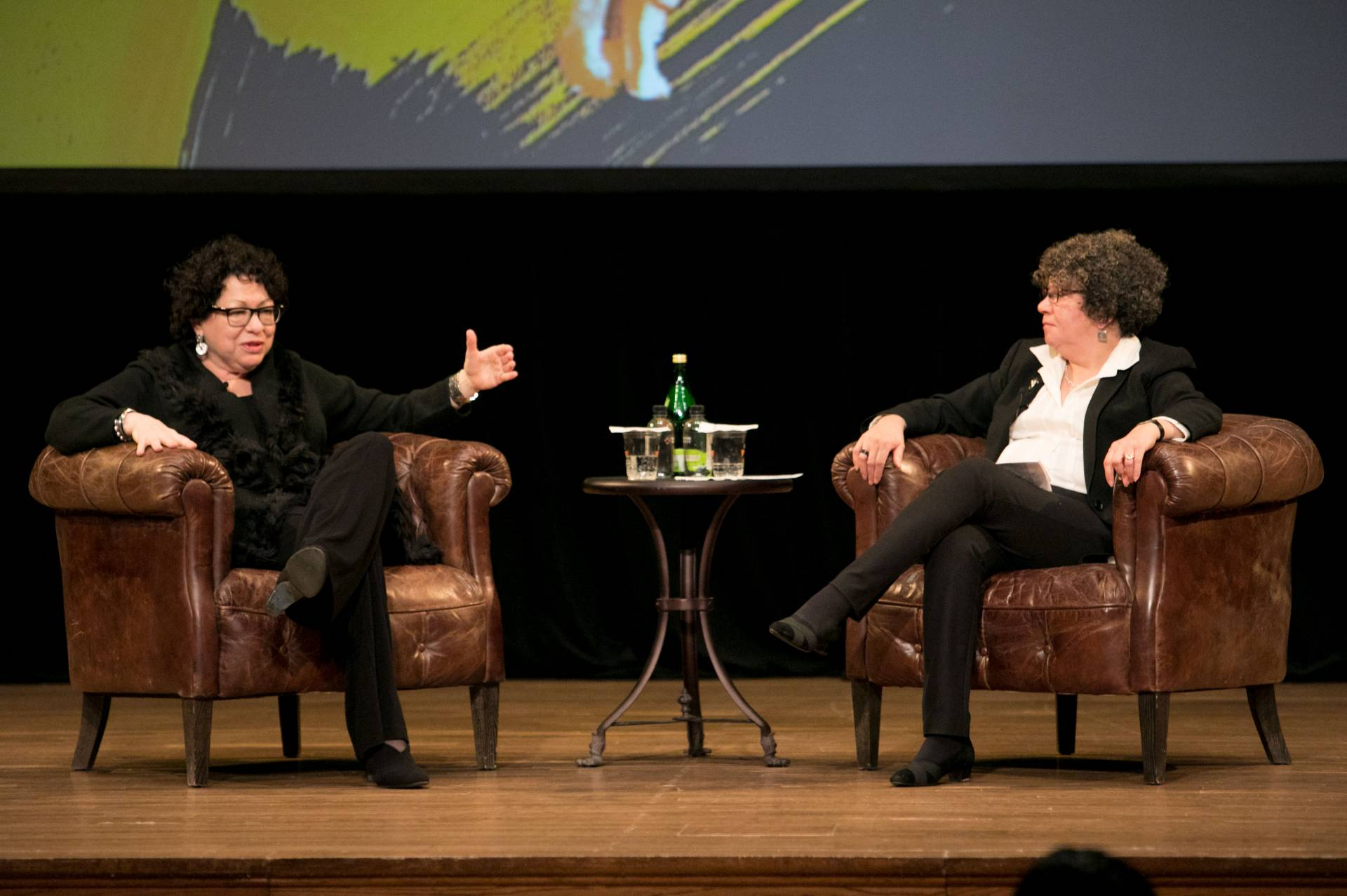 Adelante Tigres Conference: Sonia Sotomayor and University Trustee Margarita Rosa on stage at Alexander Hall