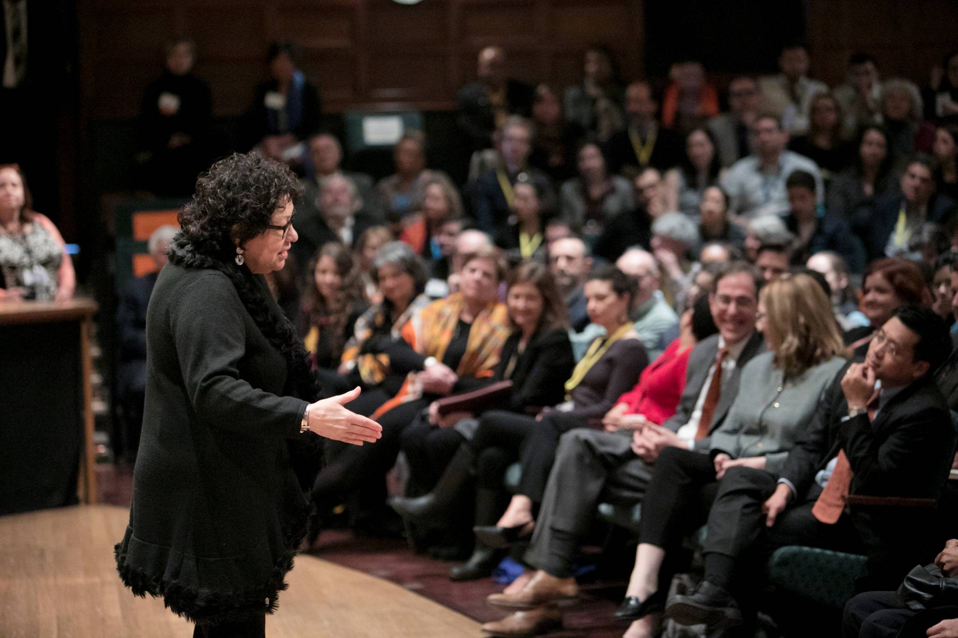 Sonia Sotomayor talks to audience in Alexander Hall