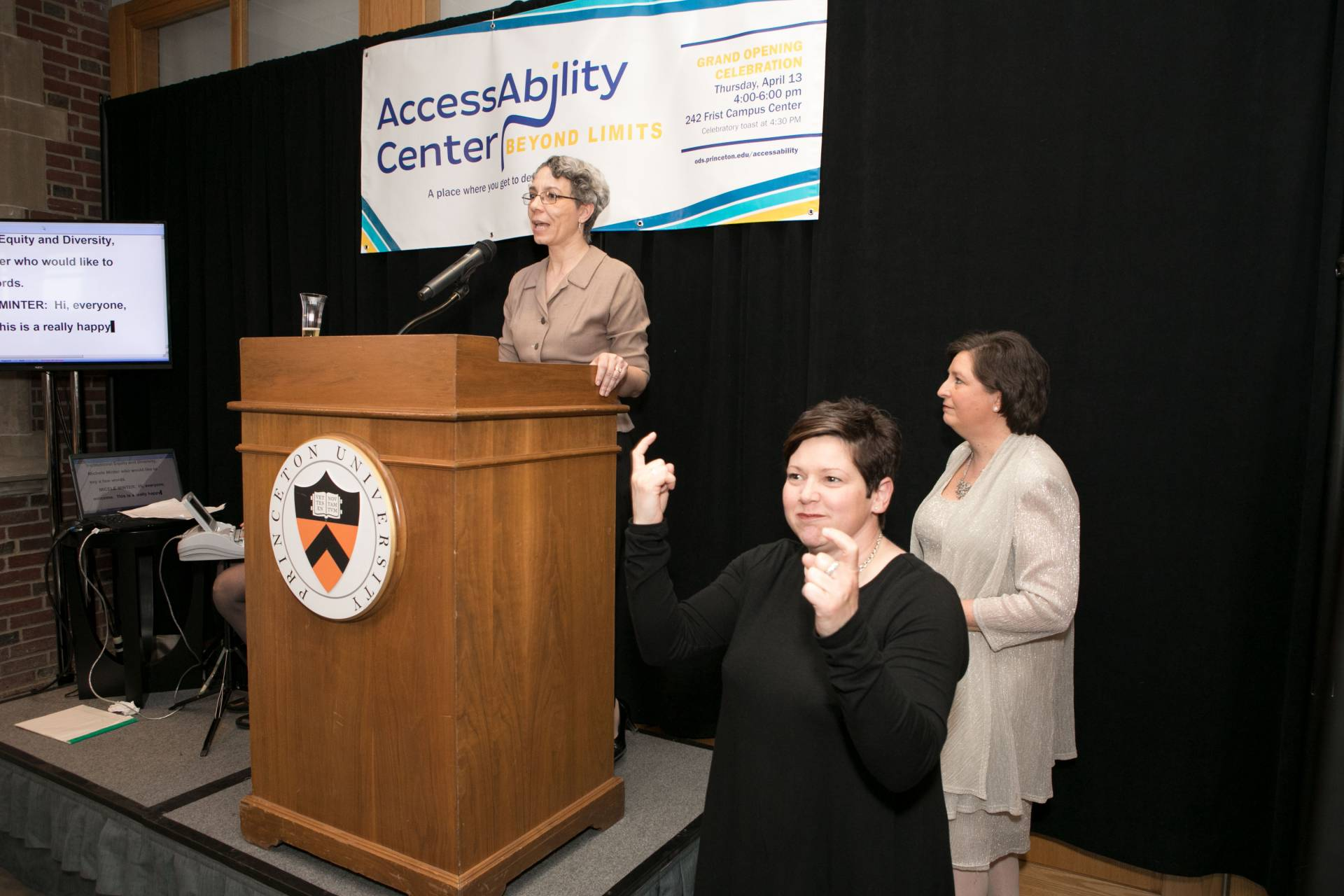 Michele Minter at podium at AccessAbility Center opening