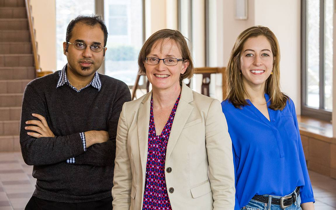 Princeton researchers including Professor Margaret Martonosi (center) and graduate students Yatin Manerkar (left) and Caroline Trippel have developed a tool that eliminates bugs by checking computer processor designs for memory issues. The tool is already leading to improvements in a major open-source chip project.