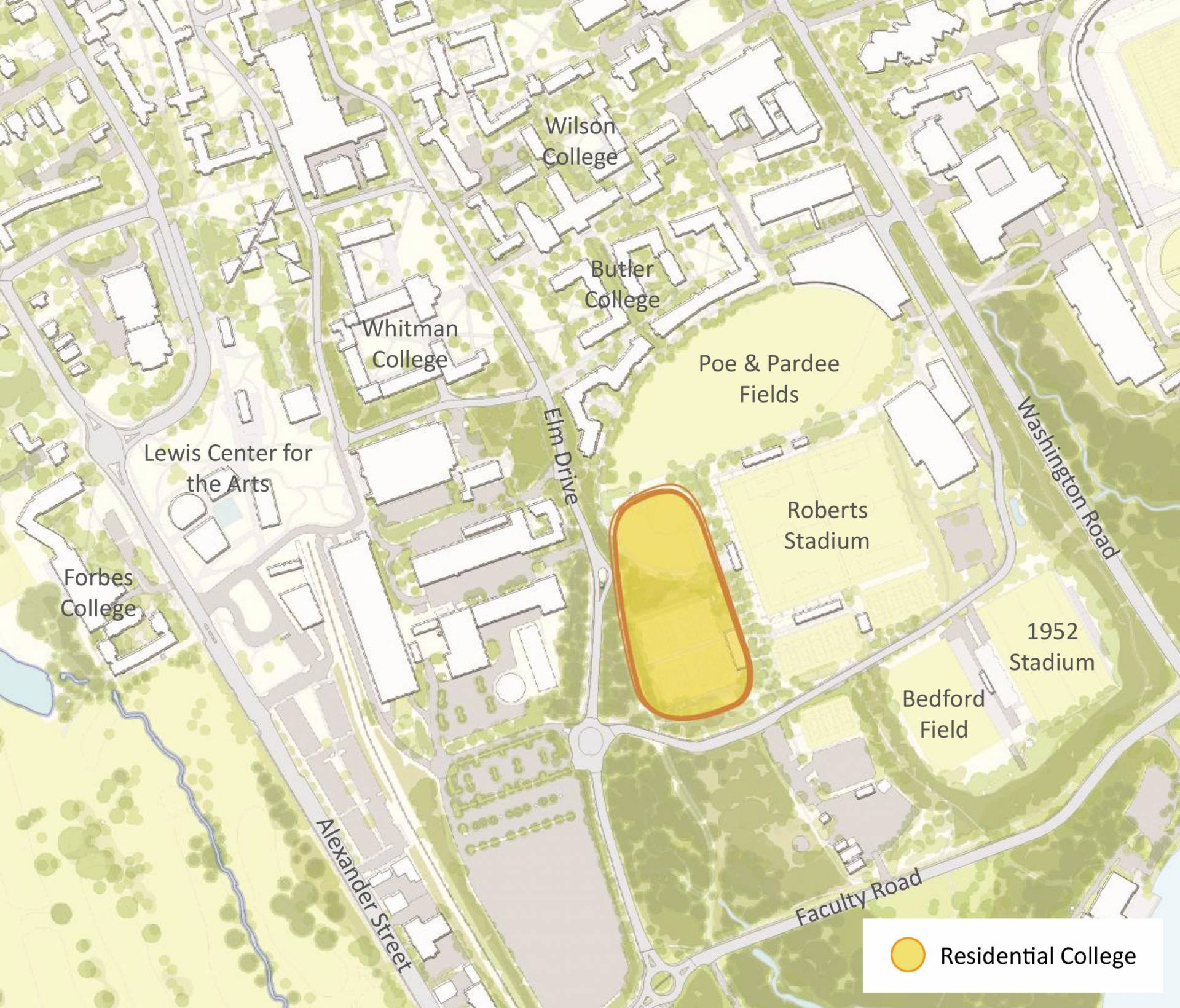 A map of the Princeton campus showing the potential site for a new residential college south of Poe Field and east of Elm Drive.
