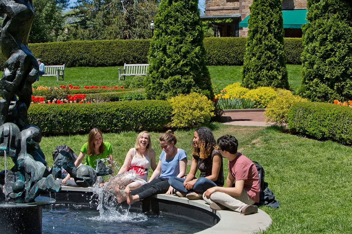 students at the Prospect Garden fountain