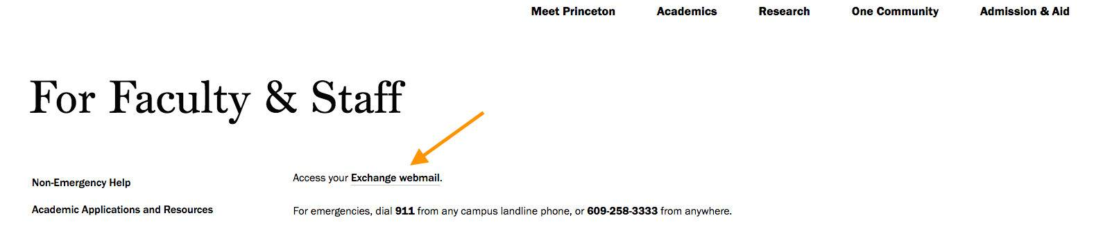 A diagram showing how to find the webmail link for faculty and staff on this website.