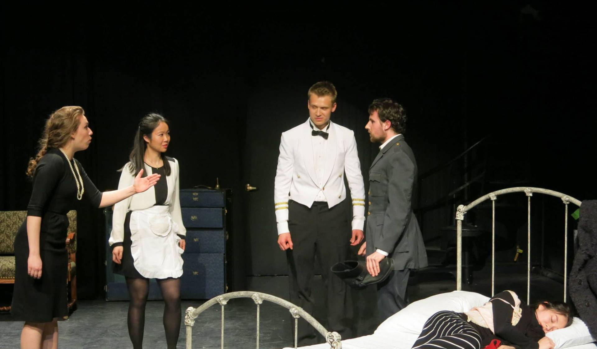 "Jin Yun Chow on stage in scene from ""Le Dindon"""