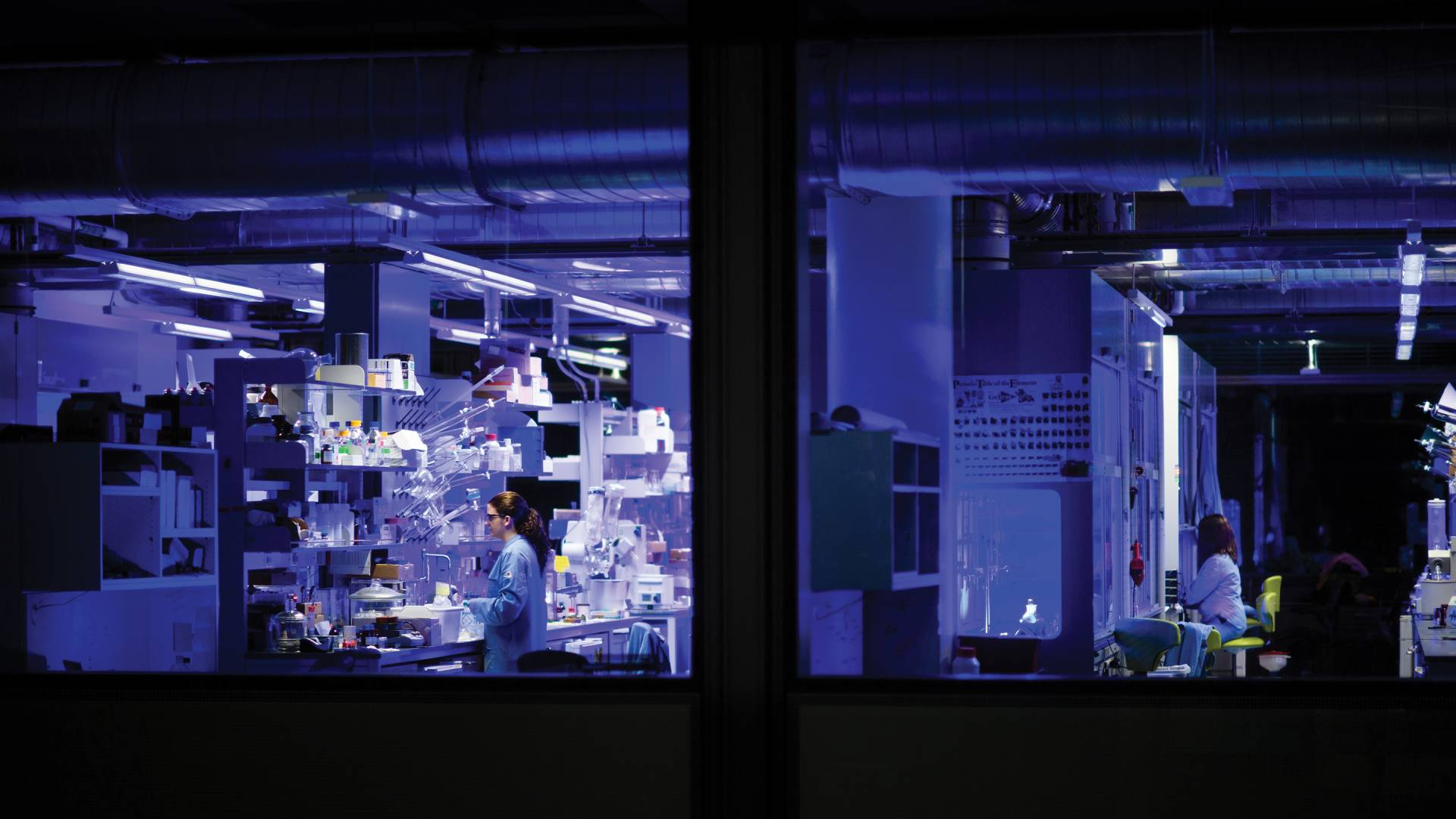 Late at night in Princeton's Frick Chemistry Laboratory, blue LED lights work overtime to catalyze new chemical reactions.