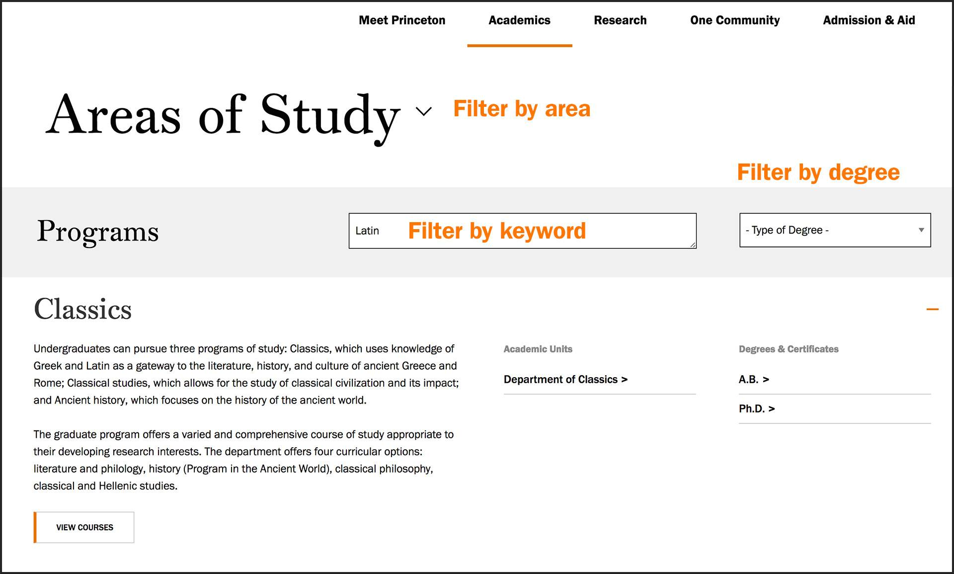 screengrab of the areas of study page, showing the exposed filters for topic, keyword and degree type