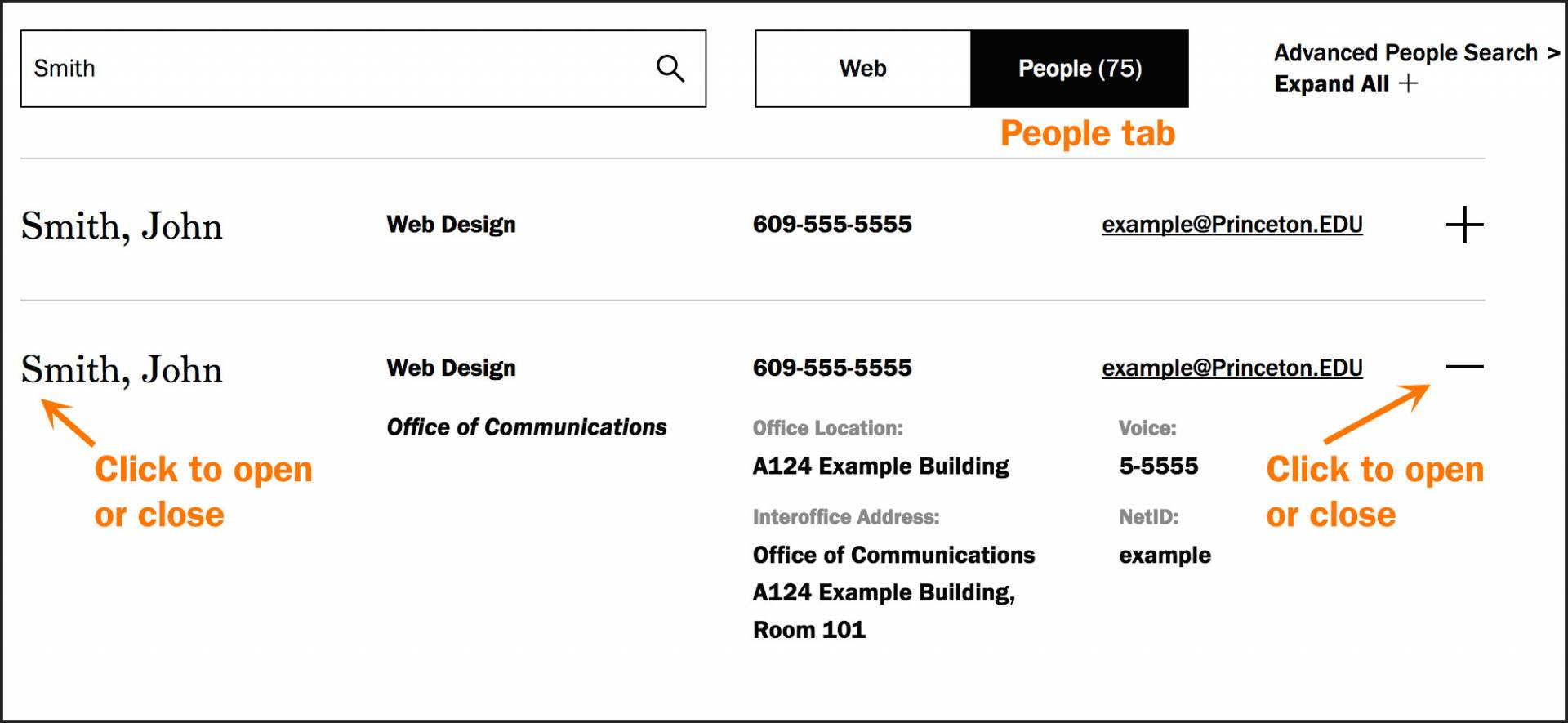 screengrab of search people showing a user who has clicked on the people tab to reveal directory listings