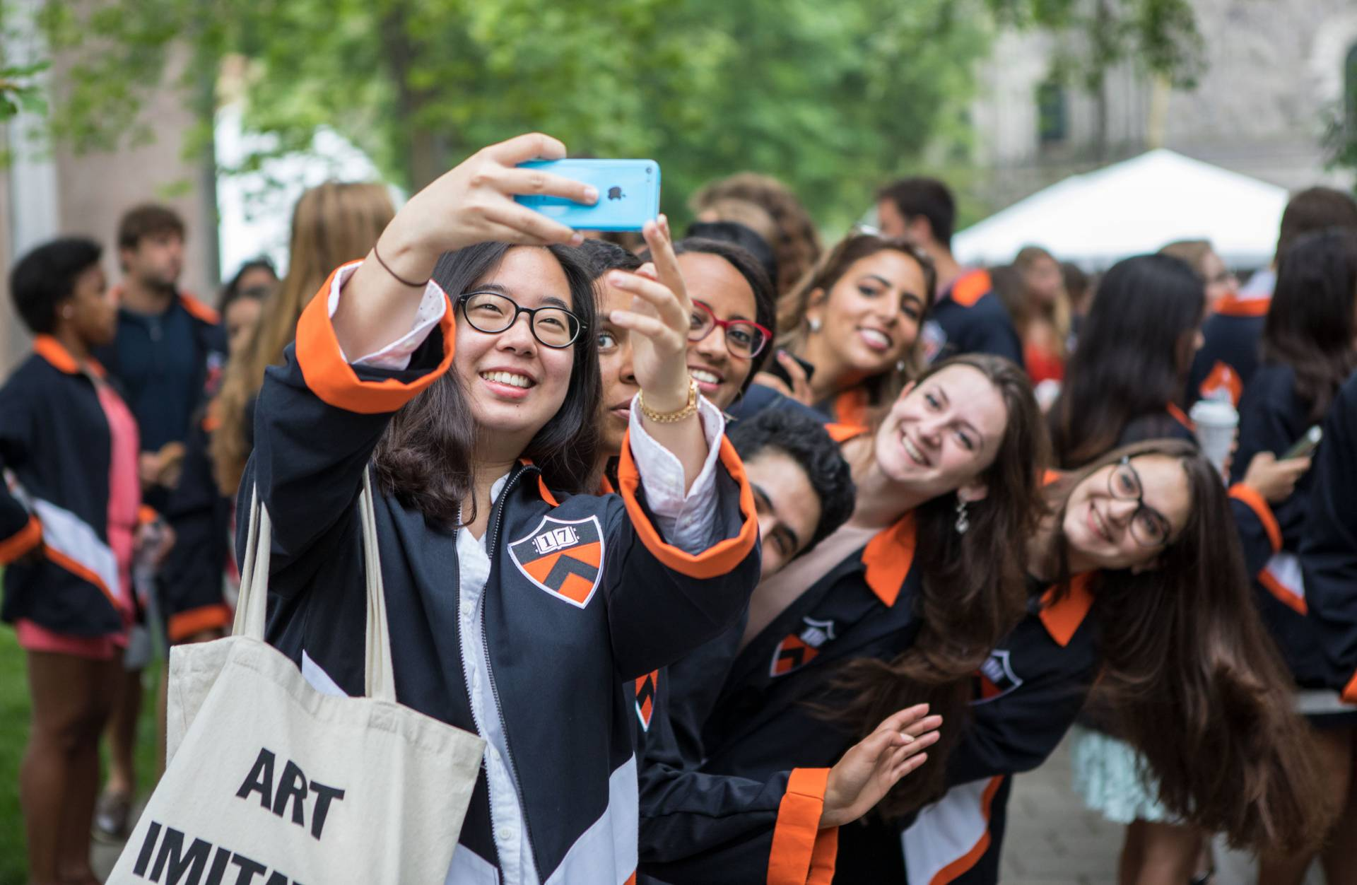 Students take selfie during Class Day 2017 ceremony