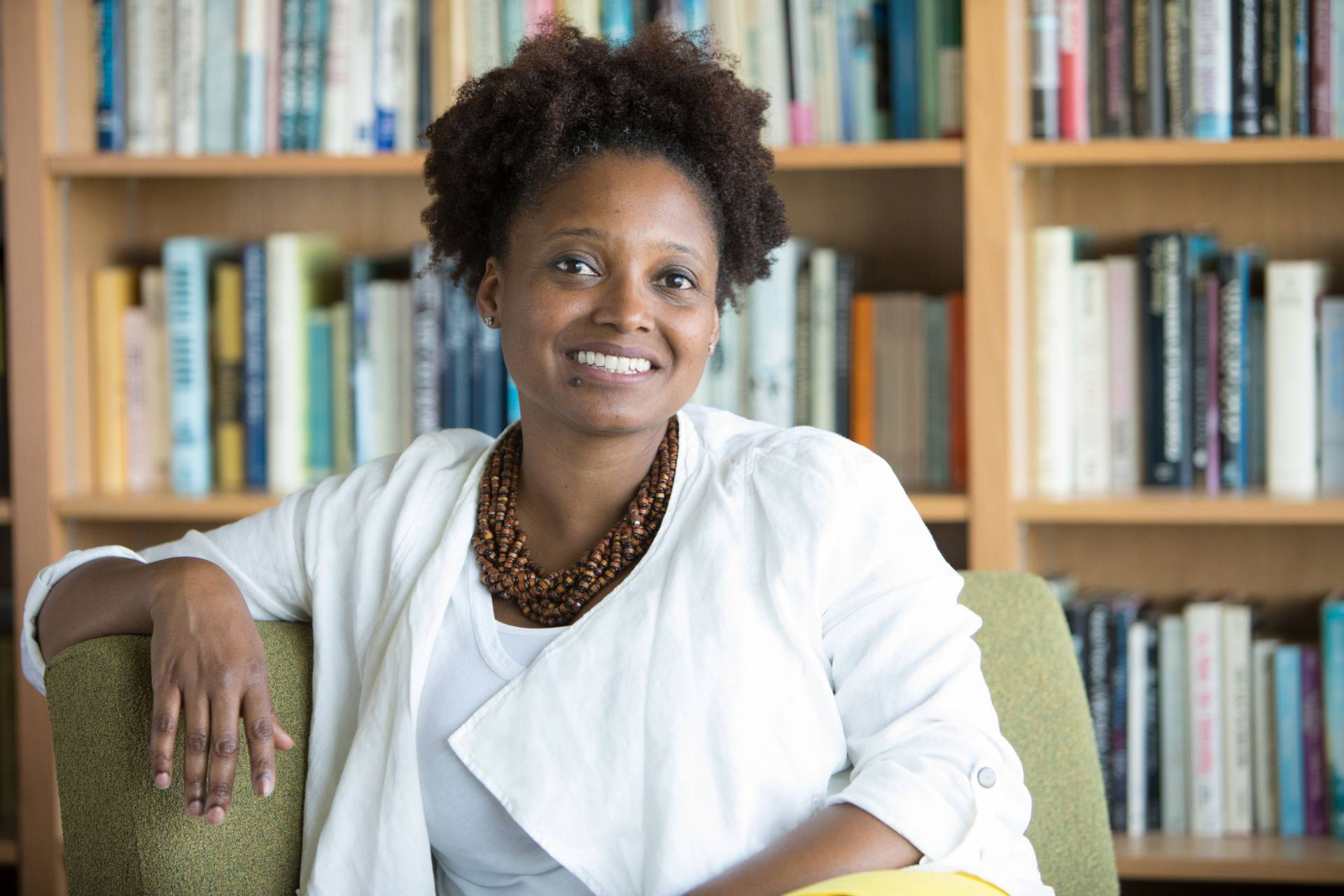 Tracy K. Smith sitting in her office