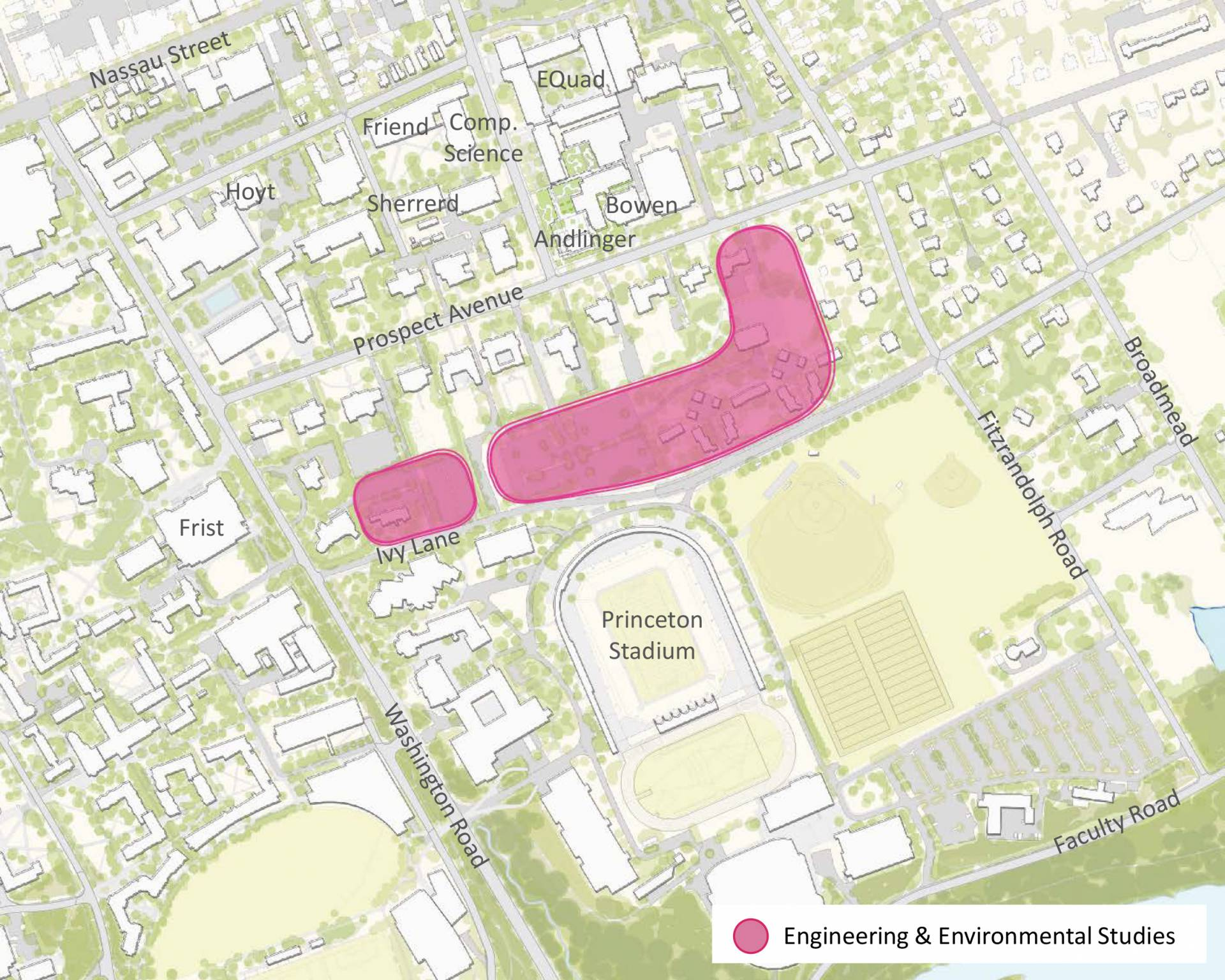 Map showing potential sites for engineering and environmental studies