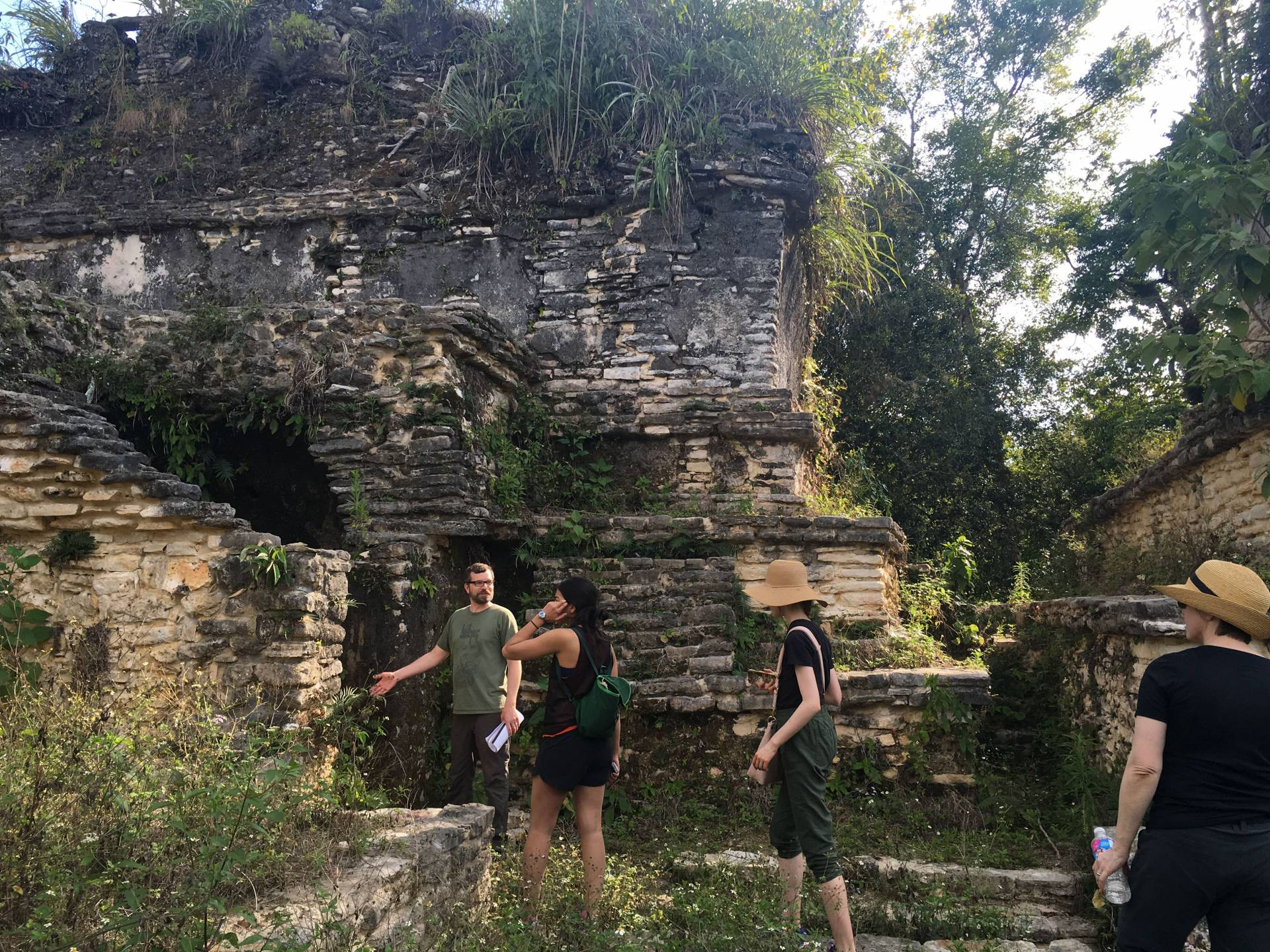 Students explore the ruins of Plan de Ayutla