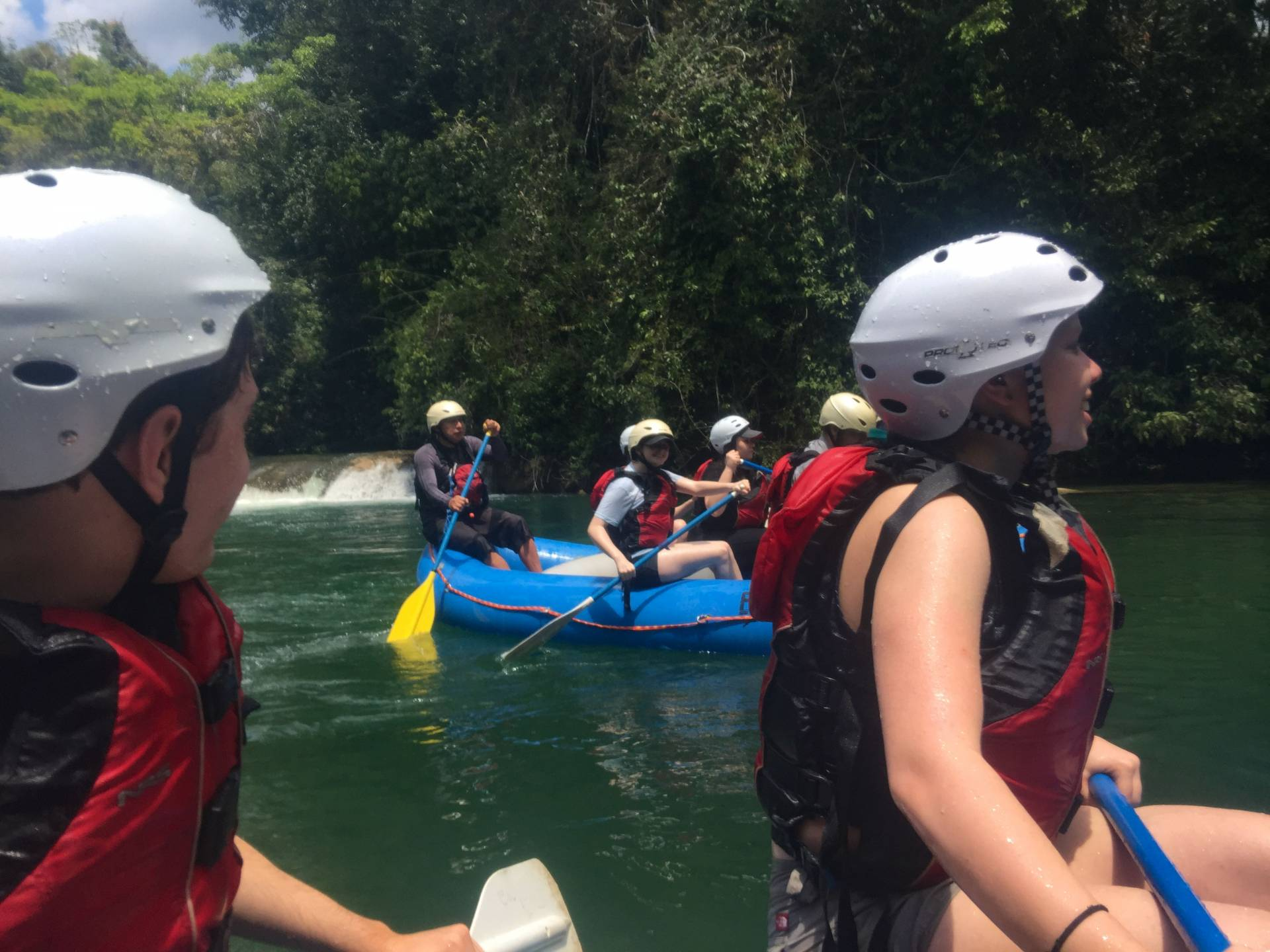 Students rafting on Lacanja river