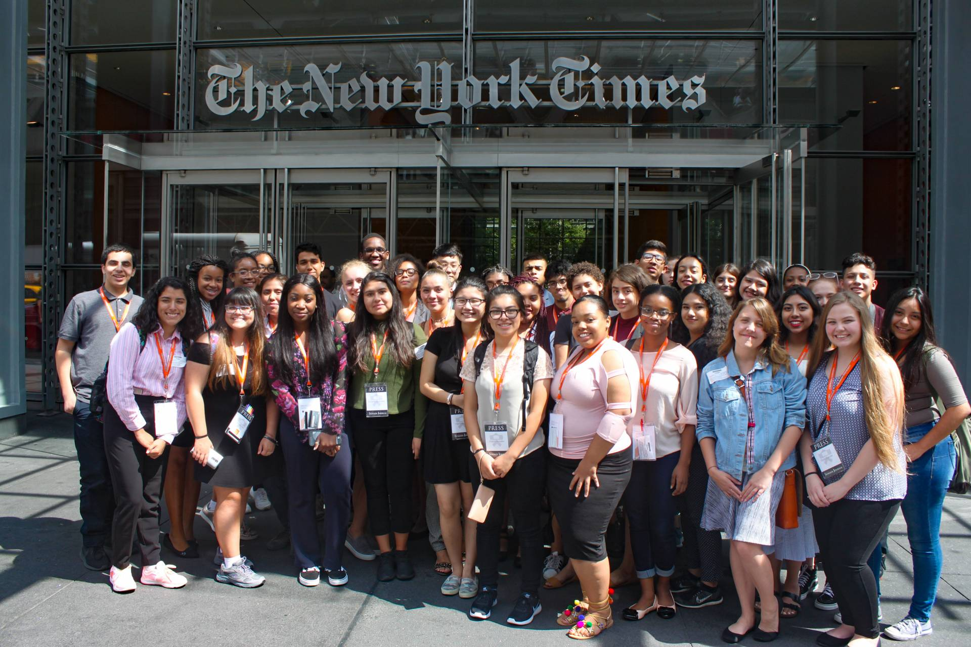 Students posing in front of New York Times building