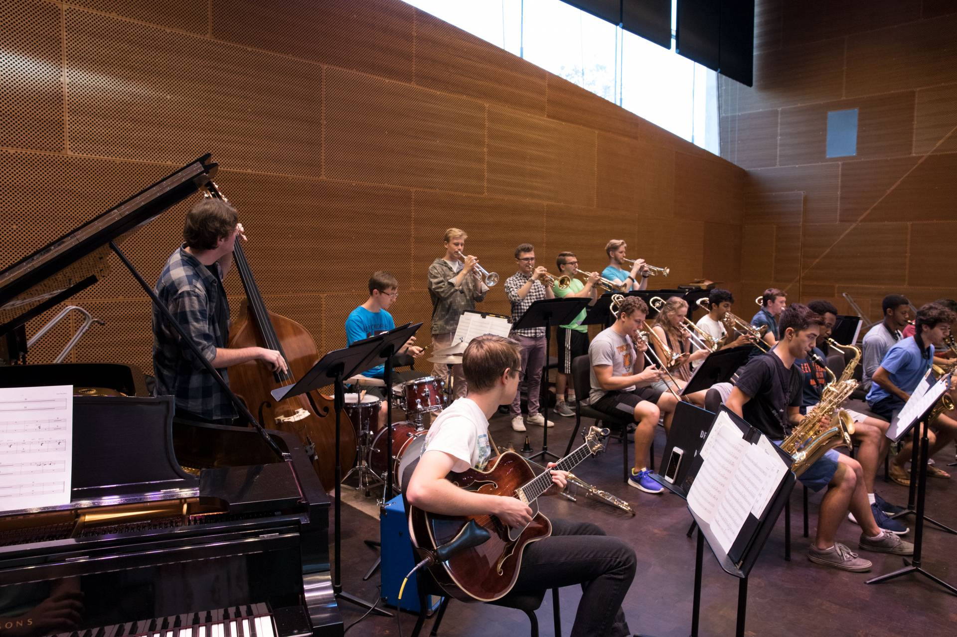 The Princeton University Jazz Ensemble rehearsing